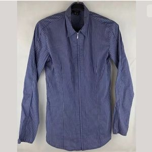 Theory Blue Striped Zip Up Dress Shirt Top Medium